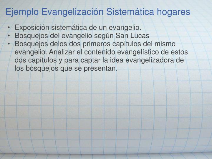 Ejemplo Evangelización Sistemática hogares