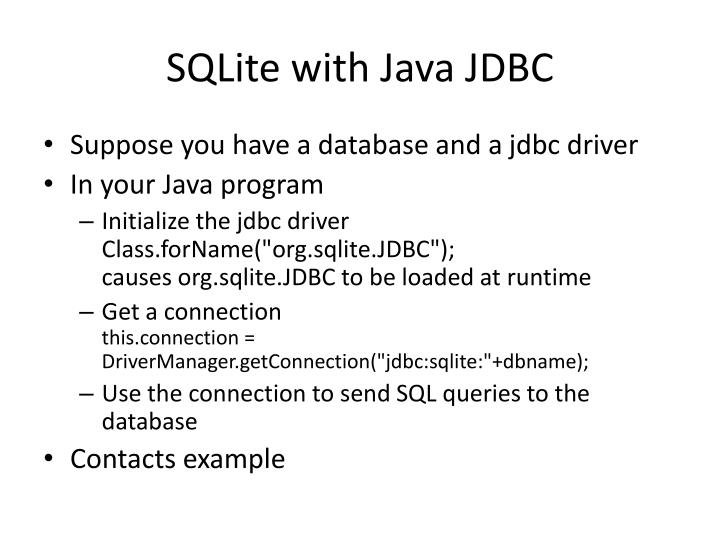 SQLite with Java JDBC