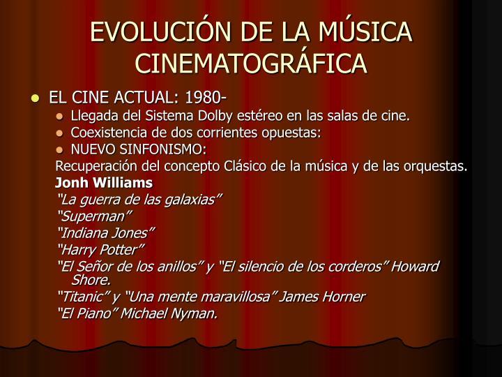 EVOLUCIÓN DE LA MÚSICA CINEMATOGRÁFICA