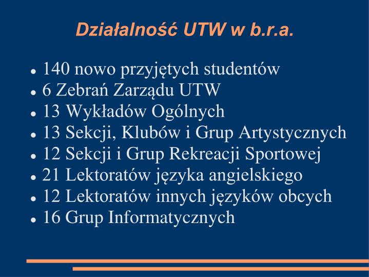Działalność UTW w b.r.a.
