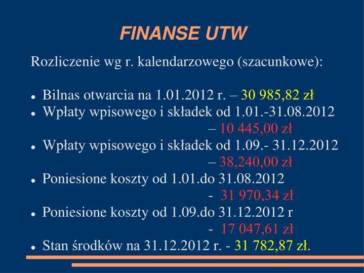 FINANSE UTW