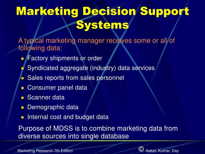 Marketing Decision Support Systems