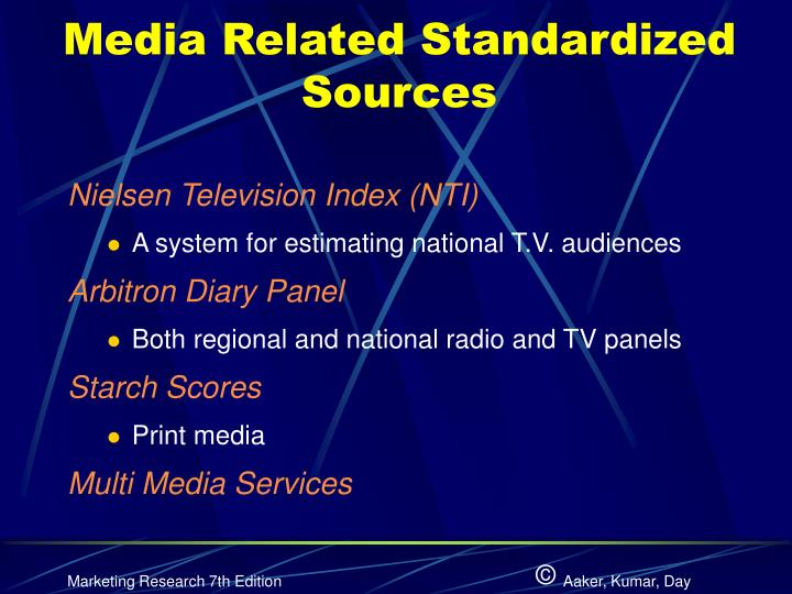 Media Related Standardized Sources