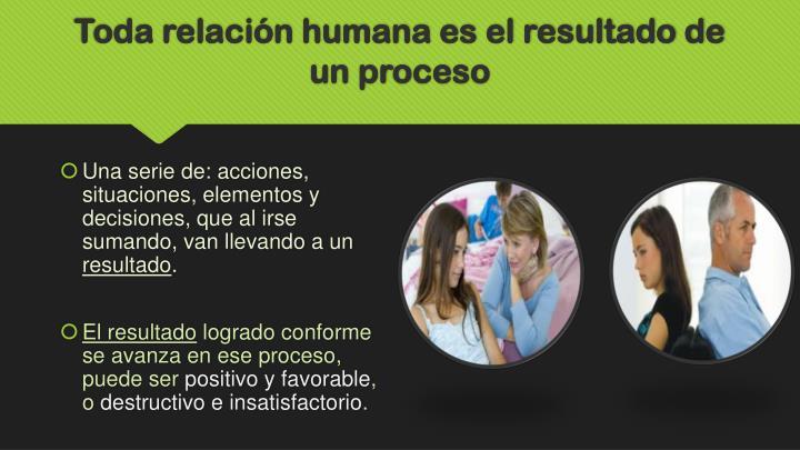 Toda relación humana es el resultado de un proceso