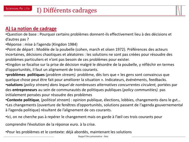 I) Différents cadrages