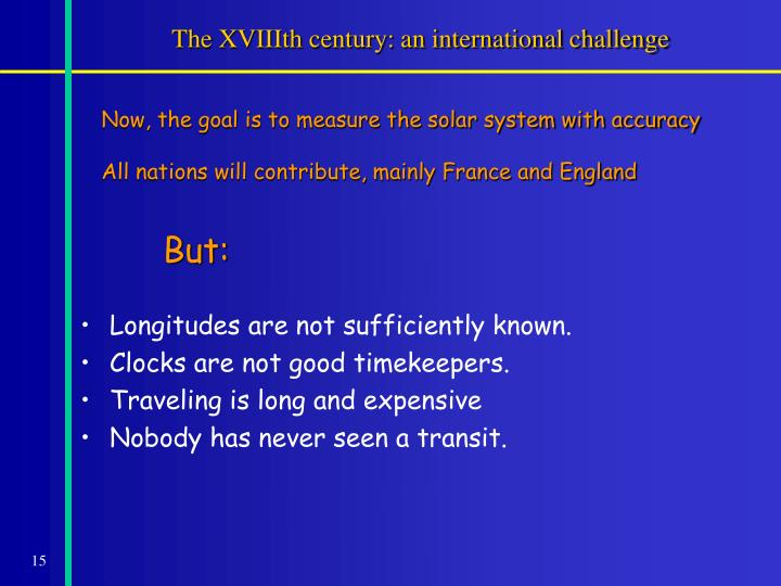 The XVIIIth century: an international challenge