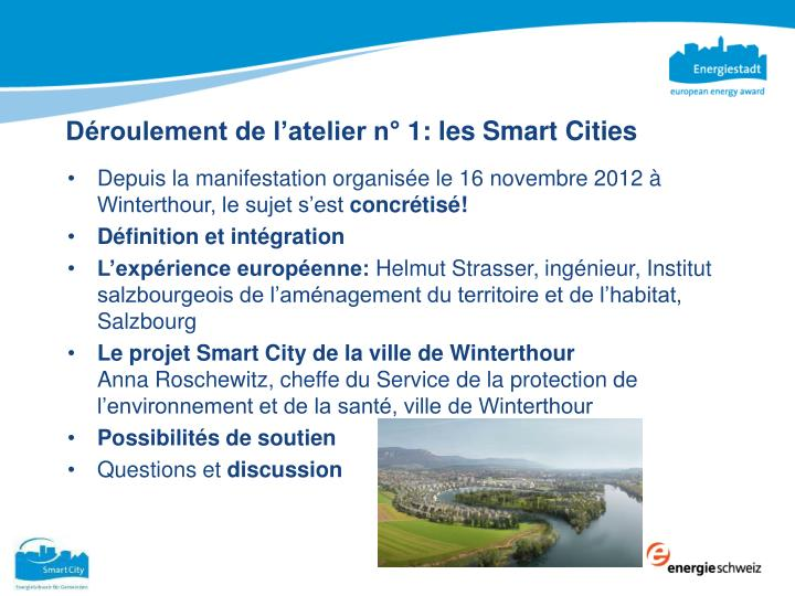 Déroulement de l'atelier n° 1: les Smart Cities