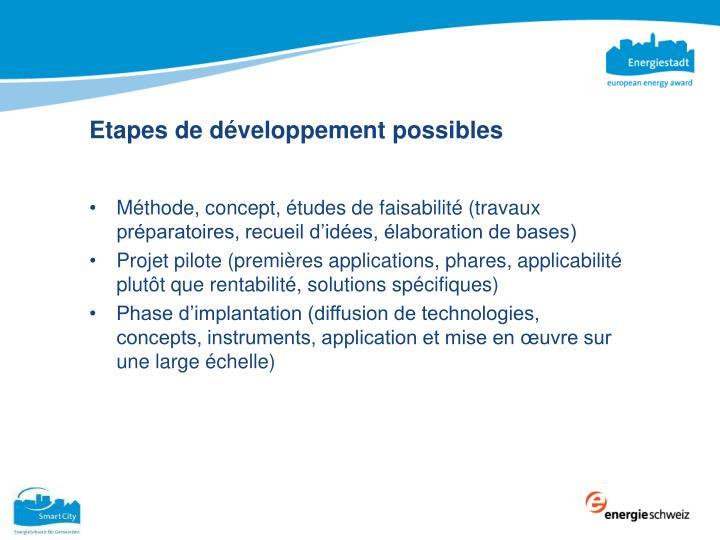 Etapes de développement possibles