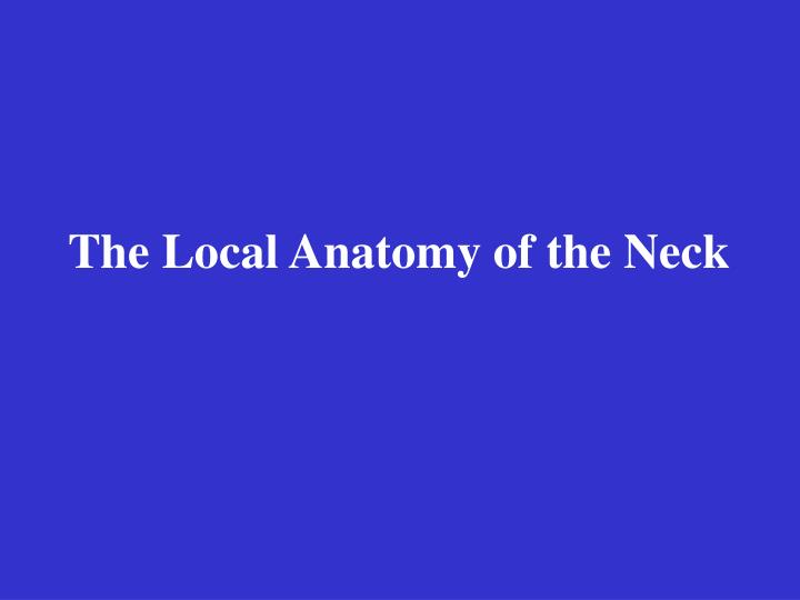 The Local Anatomy of the Neck
