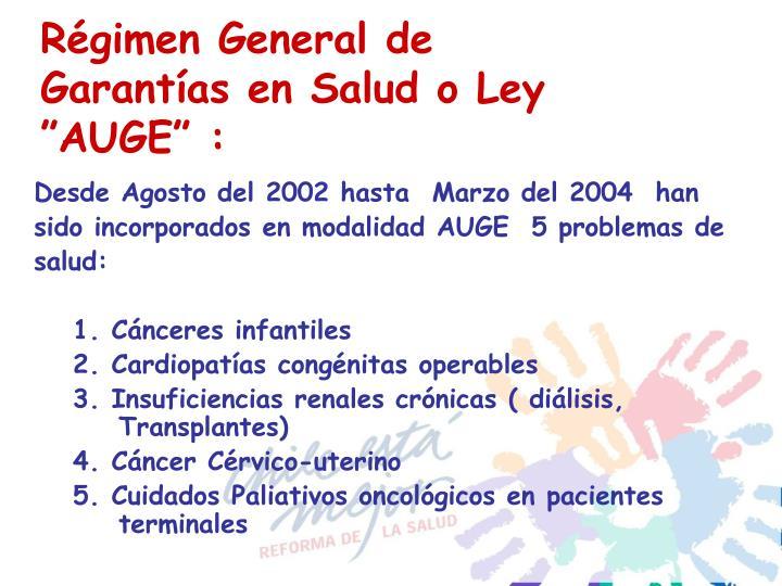 """Régimen General de Garantías en Salud o Ley """"AUGE"""" :"""