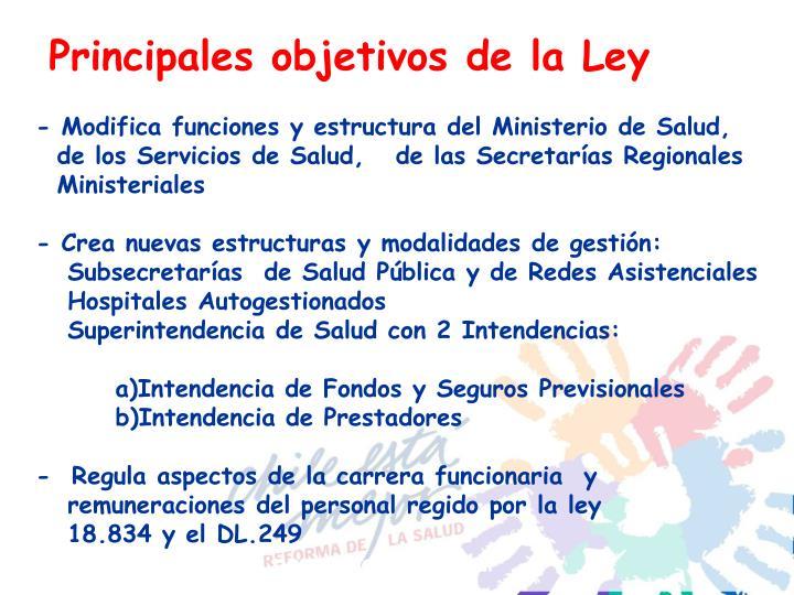 Principales objetivos de la Ley