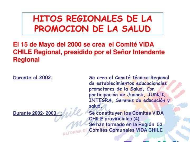 HITOS REGIONALES DE LA PROMOCION DE LA SALUD