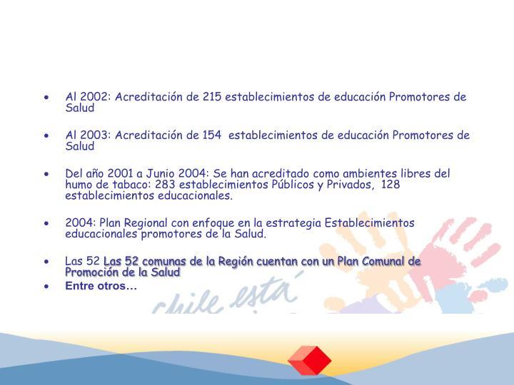 Al 2002: Acreditación de 215 establecimientos de educación Promotores de Salud