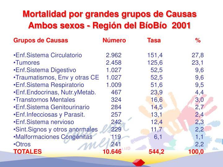 Mortalidad por grandes grupos de Causas