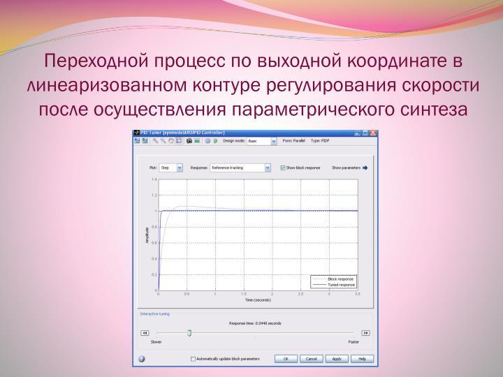 Переходной процесс по выходной координате в линеаризованном контуре регулирования скорости после осуществления параметрического синтеза