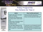 policy programme key actions for year 22