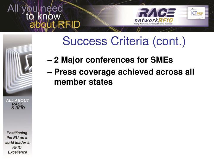 Success Criteria (cont.)