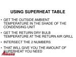 using superheat table