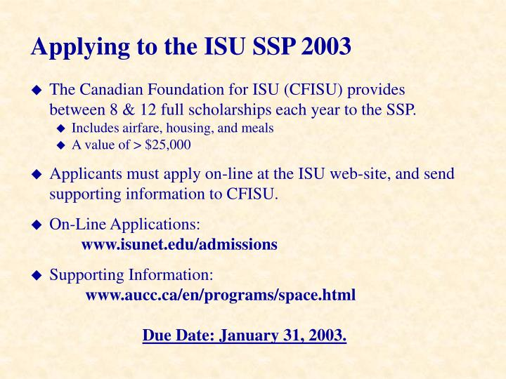 Applying to the ISU SSP 2003