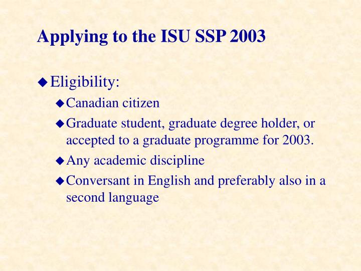 Applying to the ISU SSP 2003