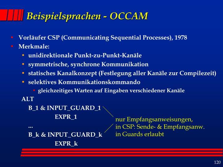 Beispielsprachen - OCCAM