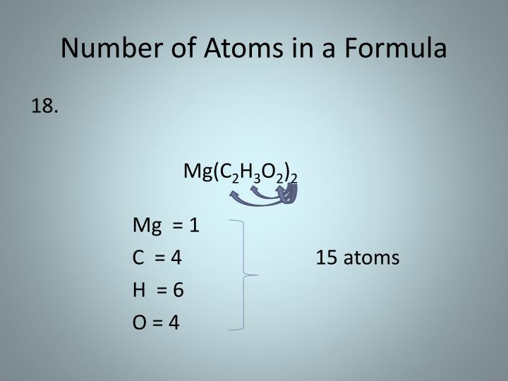 Number of Atoms in a Formula