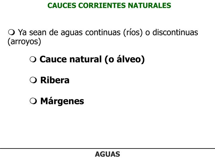 CAUCES CORRIENTES NATURALES