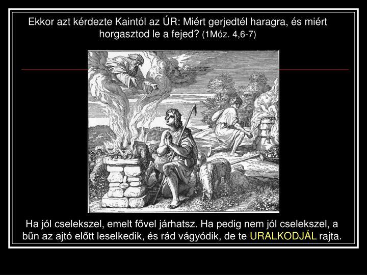 Ekkor azt kérdezte Kaintól az ÚR: Miért gerjedtél haragra, és miért horgasztod le a fejed?