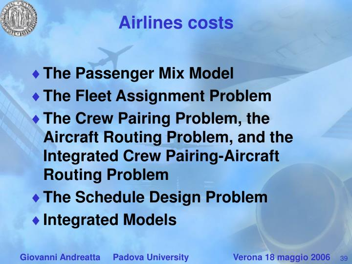 Airlines costs