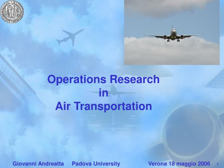 Operations research in air transportation