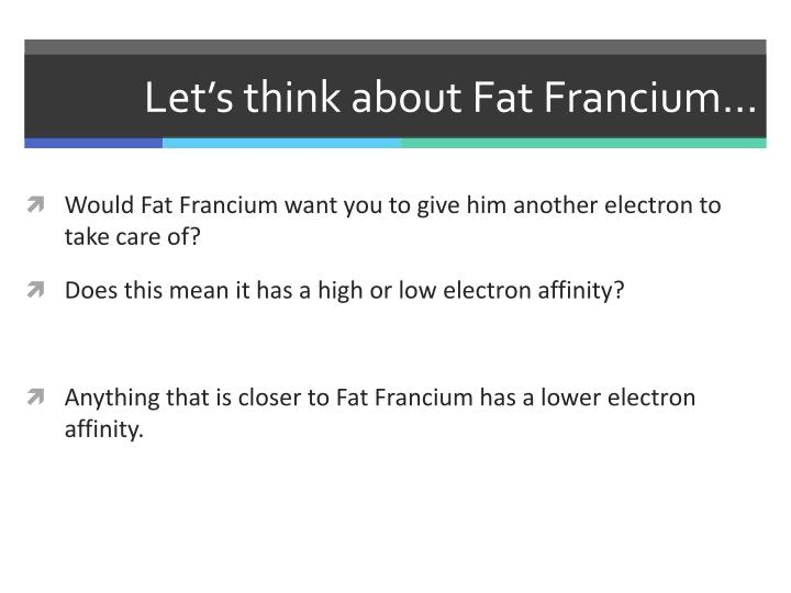 Let's think about Fat Francium…