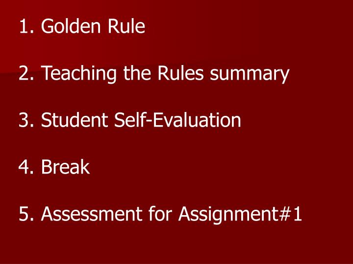 1. Golden Rule