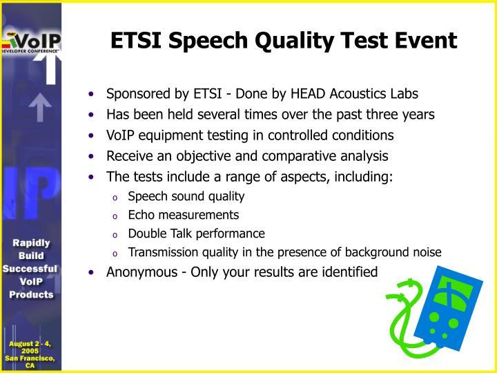 ETSI Speech Quality Test Event