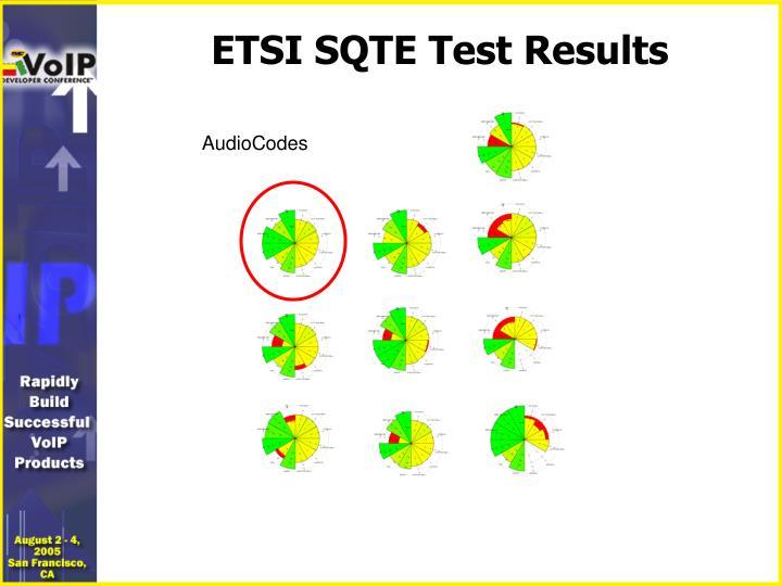 ETSI SQTE Test Results