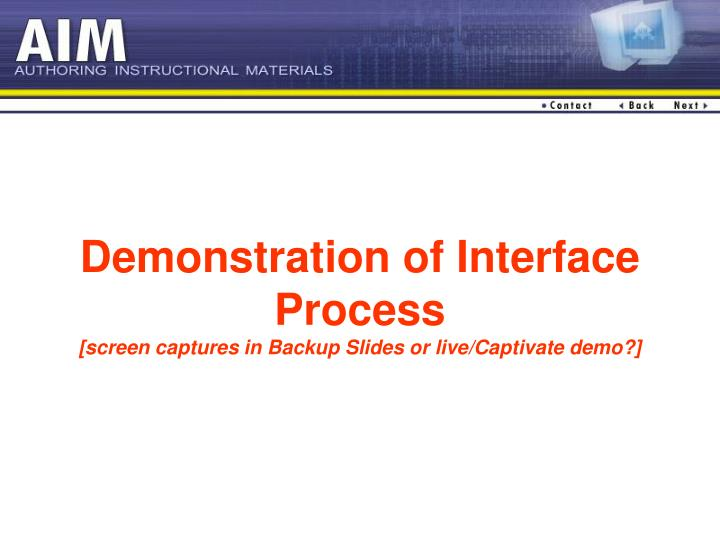 Demonstration of Interface Process