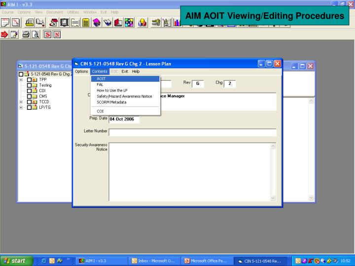 AIM AOIT Viewing/Editing Procedures