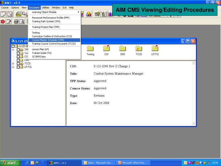 AIM CMS Viewing/Editing Procedures