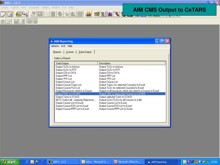 AIM CMS Output to CeTARS