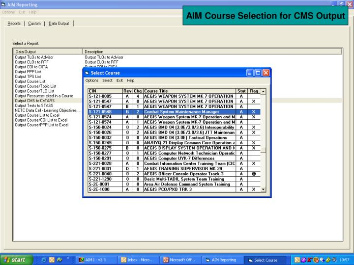 AIM Course Selection for CMS Output