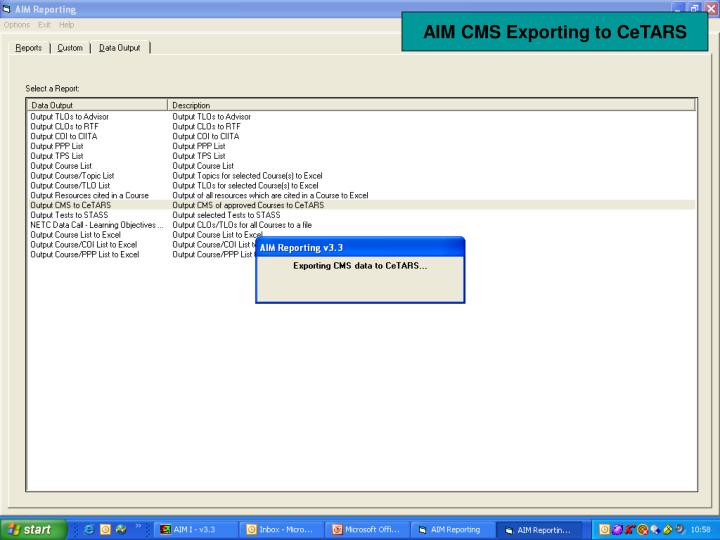 AIM CMS Exporting to CeTARS