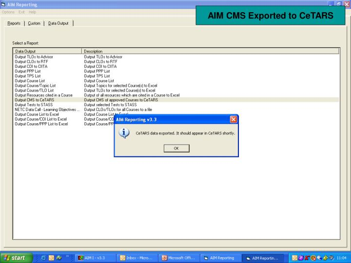 AIM CMS Exported to CeTARS