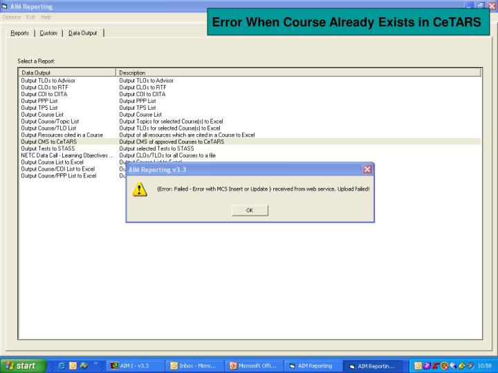 Error When Course Already Exists in CeTARS