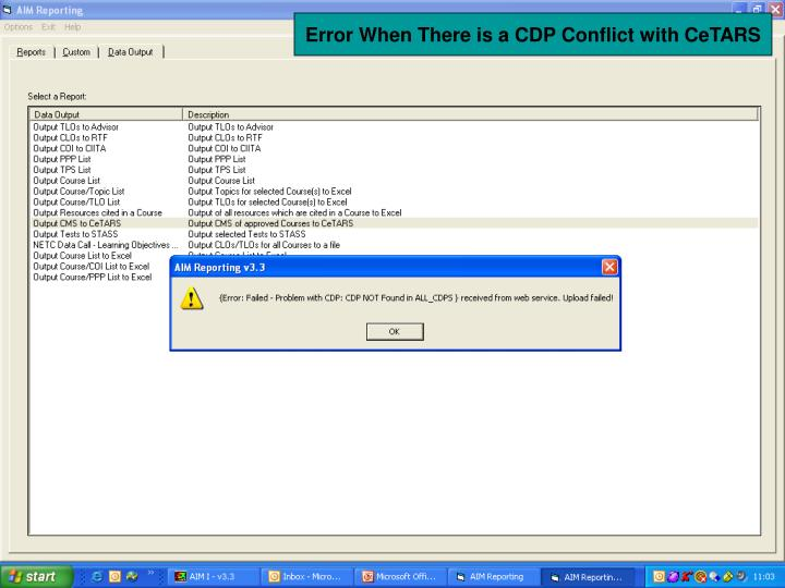 Error When There is a CDP Conflict with CeTARS