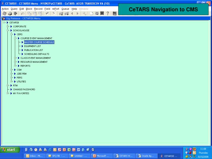 CeTARS Navigation to CMS