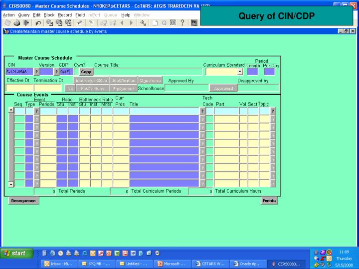 Query of CIN/CDP