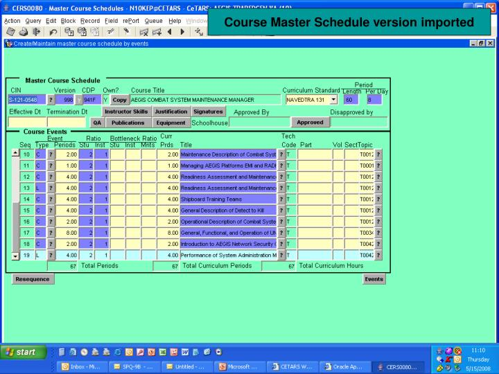 Course Master Schedule version imported