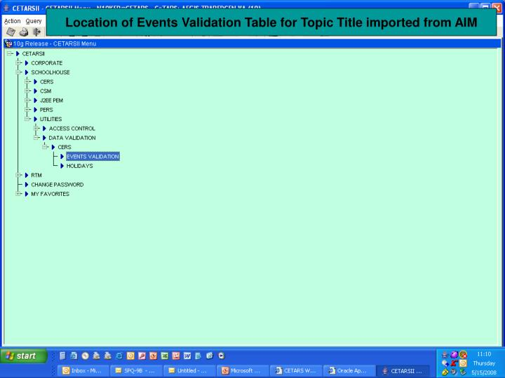 Location of Events Validation Table for Topic Title imported from AIM
