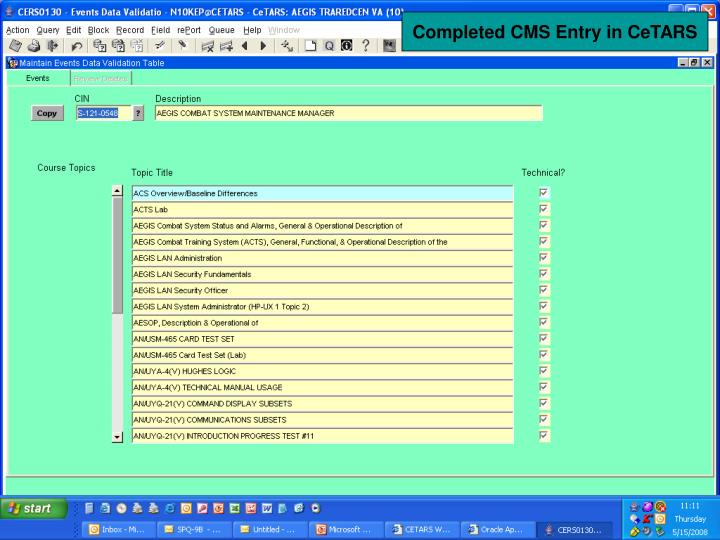 Completed CMS Entry in CeTARS