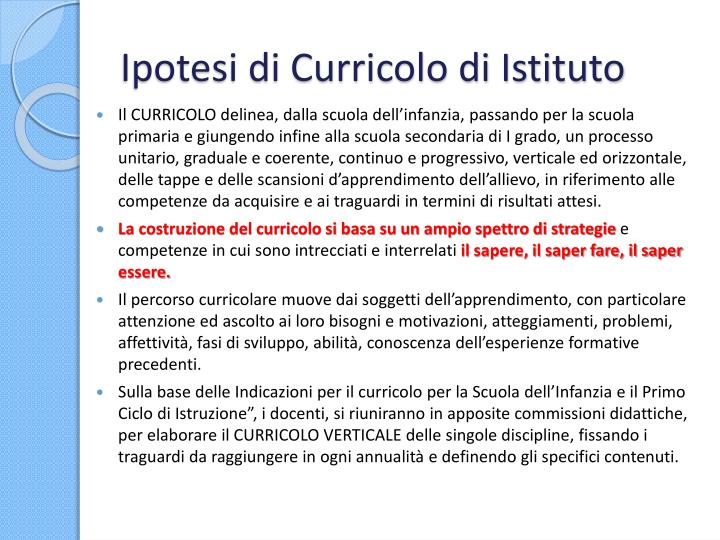 Ipotesi di Curricolo di Istituto