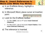 step 4 insert references in word cite while you write